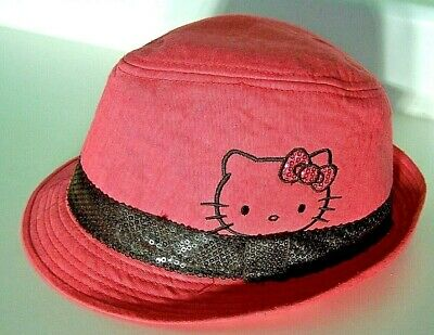 Fedora Hello Kitty Cotton Hat Kids Pink Black Sequin Band