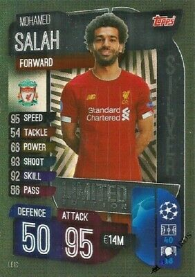 Match Attax 2019/20 Mohamed Salah Silver Limited Edition Le1S Mint