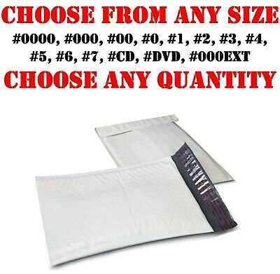 Poly Bubble Mailers Shipping Mailing Bags Padded Envelopes Self-Seal White Size