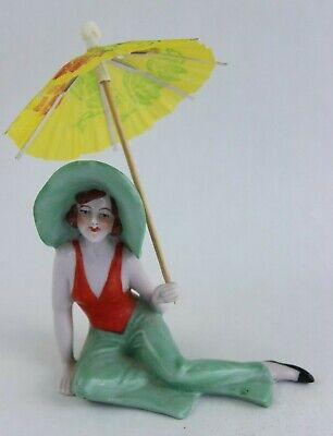 Vintage Art Deco Seated Lady Porcelain Figurine W/ Large Hat & Parasol #1838