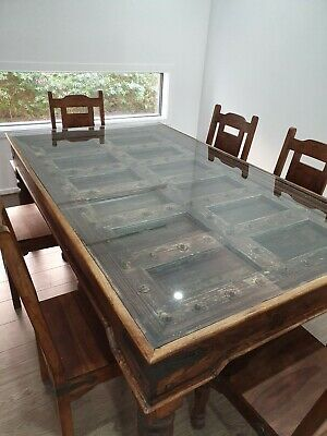 Antique Indian Carved Wooden Door Dining Table & Chairs