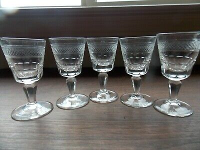 5 clear crystal cordial glasses  diamond cut