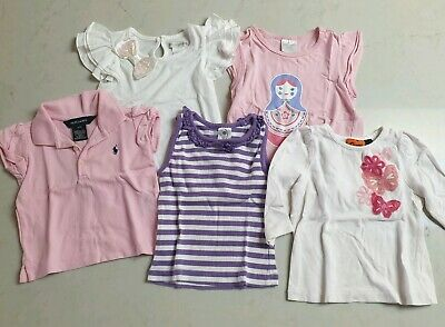 Bundle of Baby Girl Tops T Shirts Size 1 including Ralph Lauren and Target