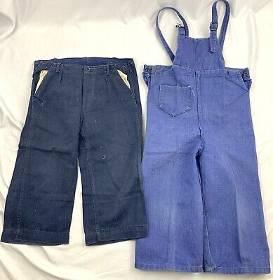 Vintage Baby Boys Denim Overalls Pants Lot Indigo Blue 1940s?