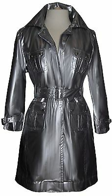 George Simonton Trench Coat NWT Sz Small Silver Belt Raincoat Front Snap Close