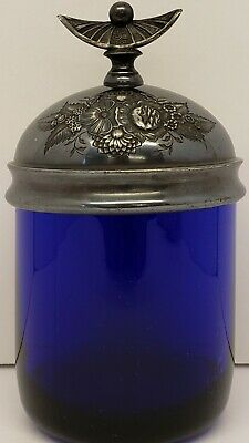 Antique Cobalt Blue Jar W/Sterling Silver Raised Floral Design Lid~Sold As-Is