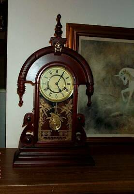 MANTLE CLOCK Antique Style Vintage Wood Replica Chime 31 Day Wind Up WORKS
