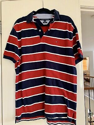 Tommy Hilfiger Men's Polo Shirt In Red And Navy Size Large Excellent Condition