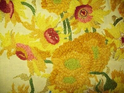 vtg crewel needle work hand-stitched embroidered yellow sunflowers wall art yarn