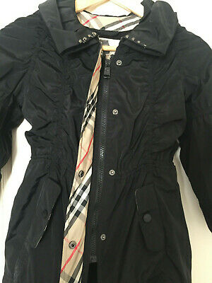 Burberry Girls Black Raincoat Jacket Coat Size 8Y / 128cm