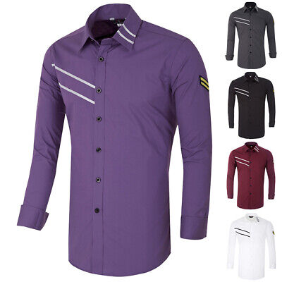 Mens Fashion Designer Stylish Slim Fit Shirts Long Sleeves Casual Military Tops