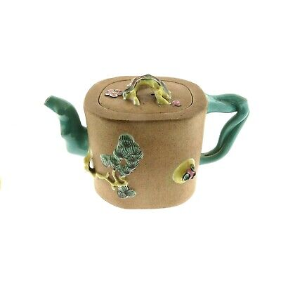 Antique Chinese Yixing Zisha Clay Teapot With Color Glaze Decoration