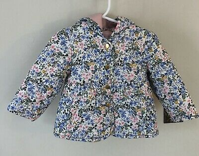 Marks & Spencer Girls Floral Puffer Jacket White Gold Buttons Size 6-12 Months