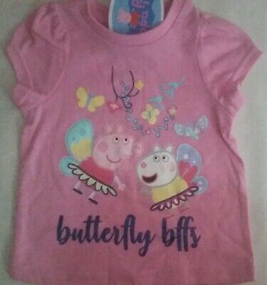 PEPPA PIG BUTTERFLY BFF Licensed Girl tee t shirt top pink NEW size 1