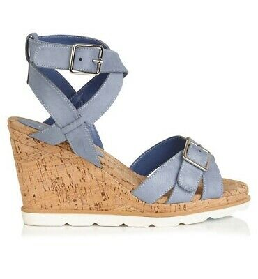 SAMBAG Pip Leather Wedges In Washed Blue In Box Size 39