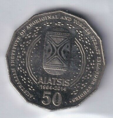 2014 Australian 50 Cent Coin - 50th ANNIVERSARY AIATSIS - VERY LOW MINTAGE EF+ 3