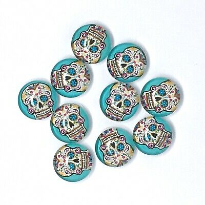 30pc 12mm Sugar Skull Cabochons Glass Domed