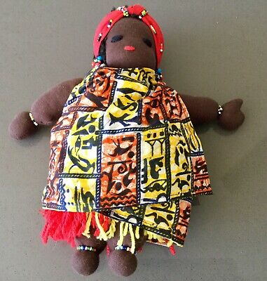 Cloth Doll African Lady Colourful Dress and Beadwork 30cm
