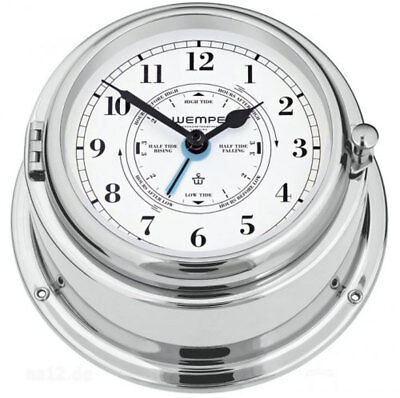 Ship's Clock Bremen II Brass Chrome Plated with Tide Pointer Clock Bootsuhr by