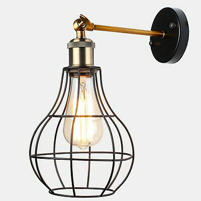Vintage Industrial Wall Light Antique Retro Cage Adjastable Wall Sconce Lamp