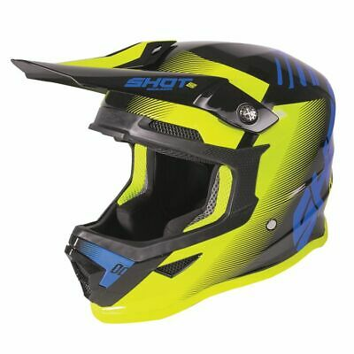 2020 Shot Furious MX Helmet Kids - Trust Blue Neon Yellow Matt