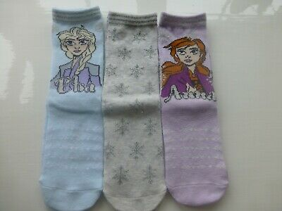 Disney Frozen 2 Anna Elsa Girls Socks  Three (3) Pairs  Age 3-6 Years Size 9-12