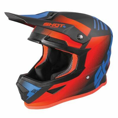 2020 Shot Furious MX Helmet Kids - Trust Blue Neon Orange Glossy