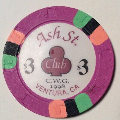 Ash Street Card Club $3 CWG 1998. Casino poker chip