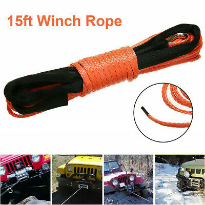 50ft 15M Synthetic Winch Line Cable Rope Emergency For ATV Quad SUV MO Fine