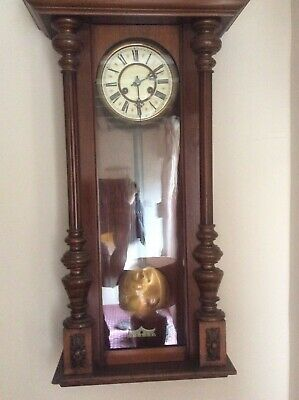 Working Vienna Walnut Wall Clock c1900