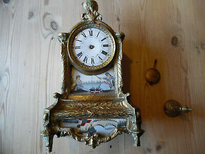 Antique Brass Clock........painted Panels.......