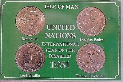 1981 UNITED NATIONS ~ YEAR OF THE DISABLED ~ 4 x ISLE OF MAN CROWNS ~ Cased