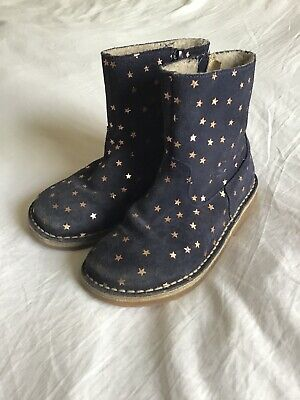 Mini Boden girls short suede leather boots - navy blue, gold stars. Size 31