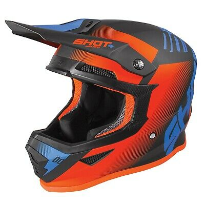 2020 Shot Furious MX Helmet Adult - Trust Black Blue Neon Orange Matt