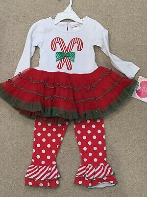 Brand New Youngland Baby Girls 2T Christmas Candy Cane Tutu 2piece Outfit