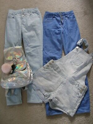 Girls Job Lot Bundle of Clothes Jeans Dungarees & Silver Rucksack Age 11 (G85)