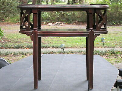 Pair Antique Veneer Mahogany Kidney Shaped French Wood Side Occasional Table Vtg