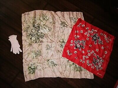Vintage silk Scarf Jacqmar Pink And White Florals Red Navy + crochet gloves