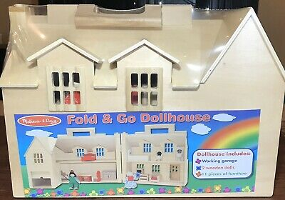 Melissa And Doug Fold And Go Dollhouse With Play Figures And