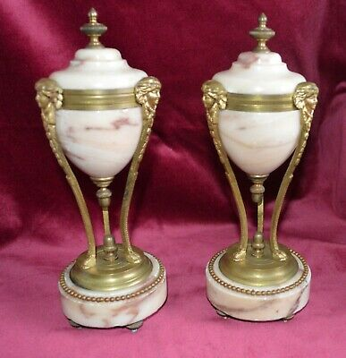 Antique Victorian French Variegated Marble & Gilt Brass Small Clock Garnitures