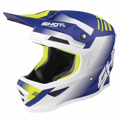 2020 Shot Furious MX Helmet Adult - Trust Blue Neon Yellow Matt