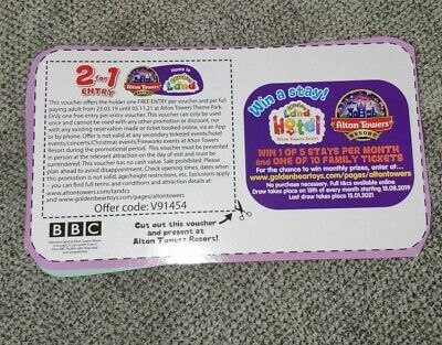 2for1 entry to Alton Towers Voucher valid until 05/11/2021