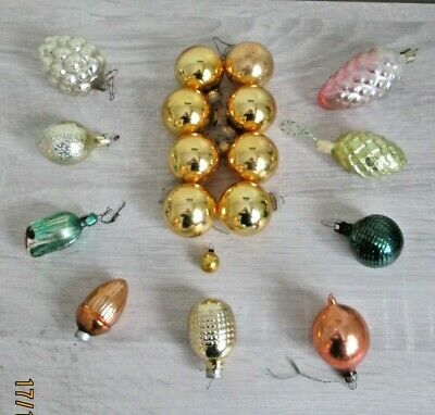 Collection Of Vintage Glass Christmas Tree Decorations Russia And West Germany