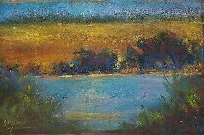 "5x8 Original Pastel Painting Landscape ""Orchard Pond"" Gold Blue Country Serene"