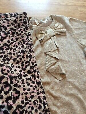 NEW H and M Hennes gold jumper  leopard print cord trousers set 7-8 y BNWOT