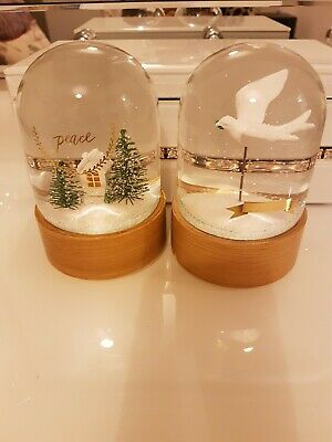 "Set of 2 ""peace"" glass snow globe domes"