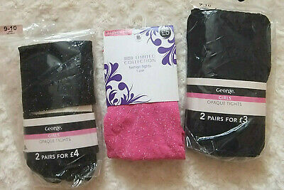 Age 9 -10 yrs 6 Brand NEW pairs of tight 3 pairs glittery & 3 pairs black opaque