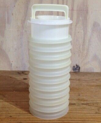 Vintage Tupperware Hamburger Freezer 10 Containers Patty Press Lid Clear #882
