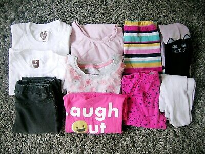 10 Piece Bundle Girl's Clothes 4-5Y Gap Mothercare H&M T-Shirts Legging Tights