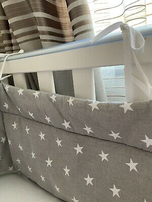 All round cot bed bumper, Padded /  Grey With Stars